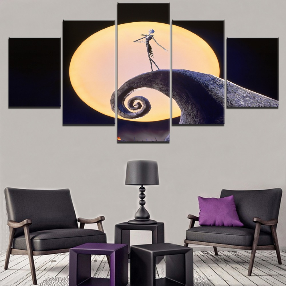 The Nightmare Before Christmas Movie HD Print Painting Home Decor 5 Piece Canvas Art Painting Modern Canvas Wall Art Living Room in Painting Calligraphy from Home Garden