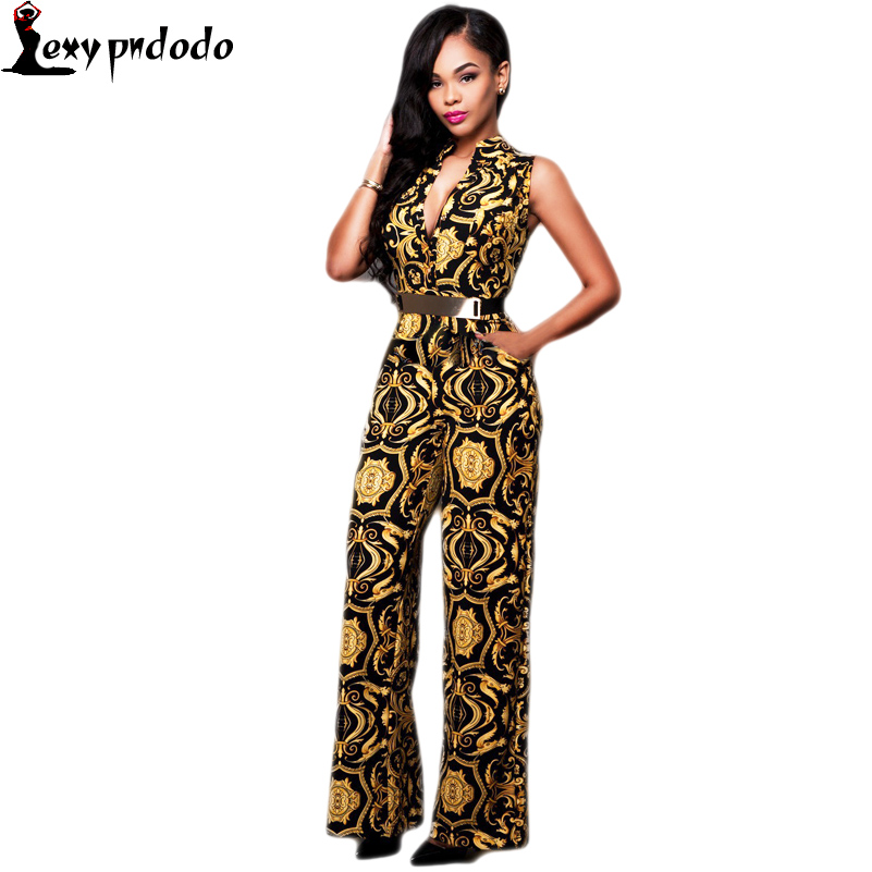 Long Pants Rompers Womens Jumpsuit Autumn Party V-neck Embellished Cuffs Overalls Loose Club Sleeveless Jumpsuits Gold Belted