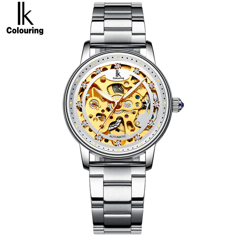 IK Full Steel Automatic Fashion Top Brand OL Ladies Watch Hollow Transparent Dial Genuine Leather Watch