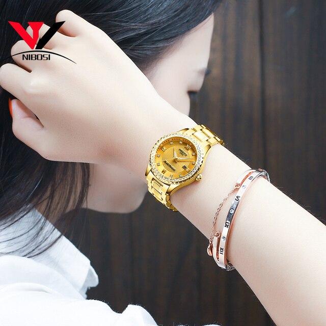 NIBOSI זהב שעון נשים 2019 יוקרה מותג נשים שעונים עמיד למים אופנה שמלת יהלומי קוורץ מותג ליידי יד שעונים Saat