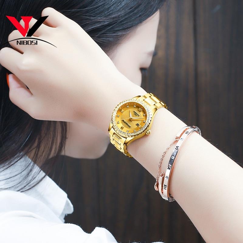 NIBOSI Gold Watch Women 2019 Luxury Brand Women Watches Waterproof Fashion Dress Diamond Quartz Brand Lady Wrist Watches Saat