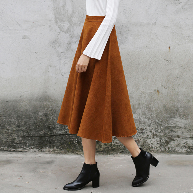 Yichaoyiliang Vintage High Waist Faux Suede Midi Skirt Black Dark Green Brown Full Skirt Chinese Preppy Style A-line Skirt