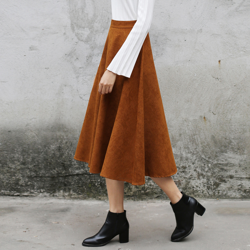 Popular Faux Suede High Waist Skirt-Buy Cheap Faux Suede High ...