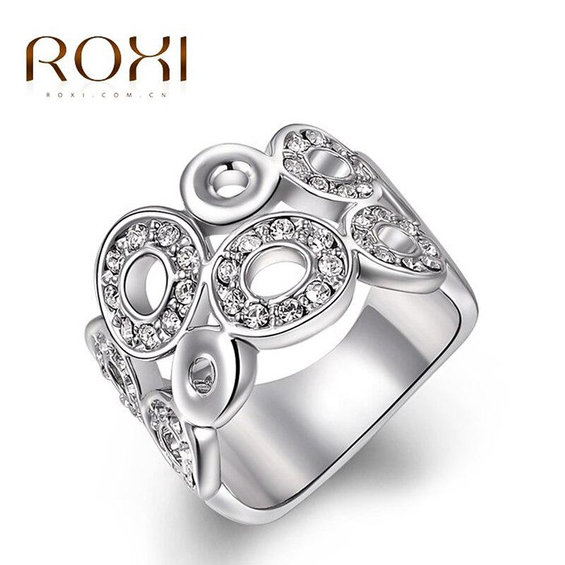 Prix pour ROXI Cadeau du Jour de Mère Classique De Luxe Anneaux Top Qualité Véritable SWR cristal romantique bijoux faits à la main Bague de Fiançailles