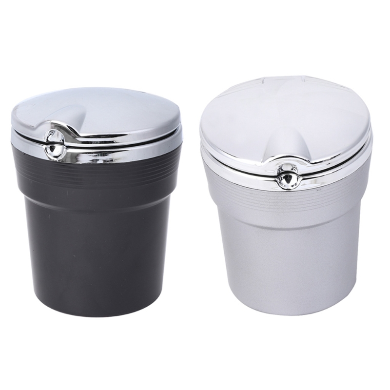 New Smokeless Portable Car Cigarettes Ashtray Ash Tray LED Light Cylinder Cup Holder
