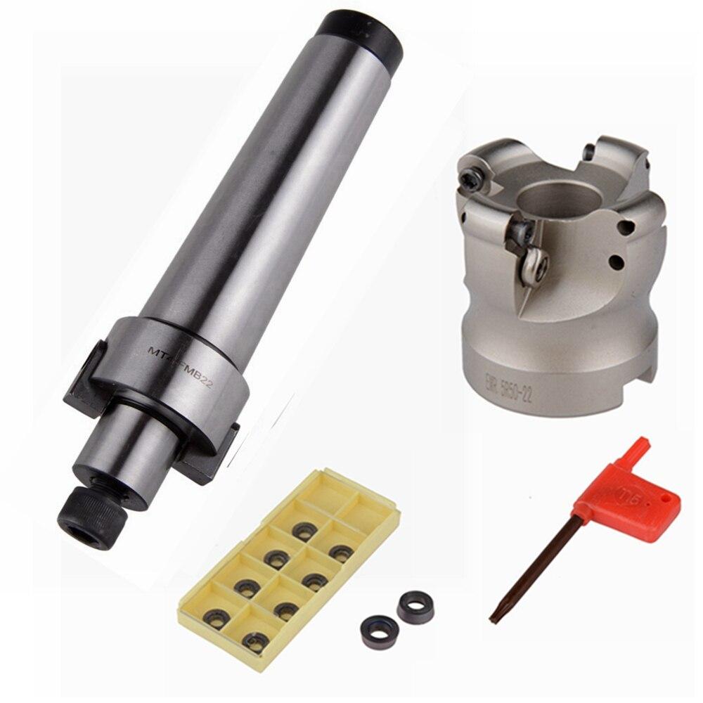 MT4-FMB22-M16 Codolo cilindrico Asta di Prolunga EMR 5R 50-22 Viso End Mill Cutter Con 10 pz RDMT1003 Inserti CNC strumento