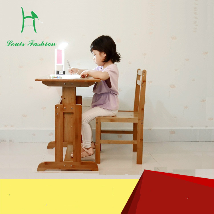 Children learn bamboo tables and chairs set wooden desks chair lifting table office combination of pupils