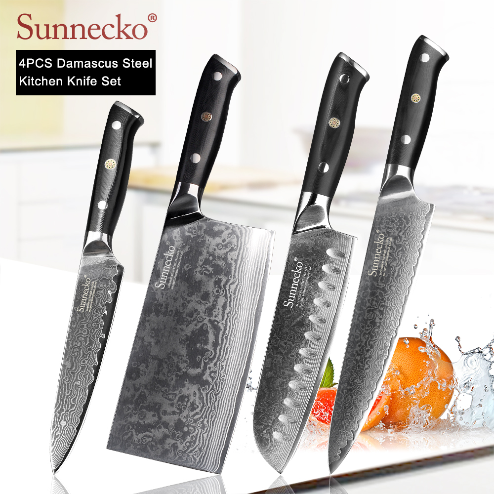 SUNNECKO 4pcs Kitchen Knives Set Damascus Chef Slicing Paring Knife Japanese VG10 Steel Blade Cleaver Utility Knives G10 Handle Knife Sets     - title=