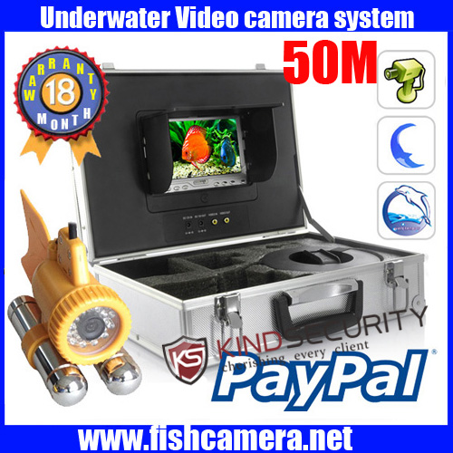 Freeship 50m waterproof underwater video camera for Live Real Time recorder IR unwater fish camera with