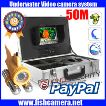 Freeship 50m waterproof underwater video camera for Live Real Time recorder,IR unwater fish camera with LCD monitor LEDS