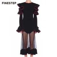 Для женщин юбка с оборками Черный Юбка из сетчатой ткани Cover Up высокое качество Юбка из сетчатой ткани черные длинные Лоскутная юбка для Для
