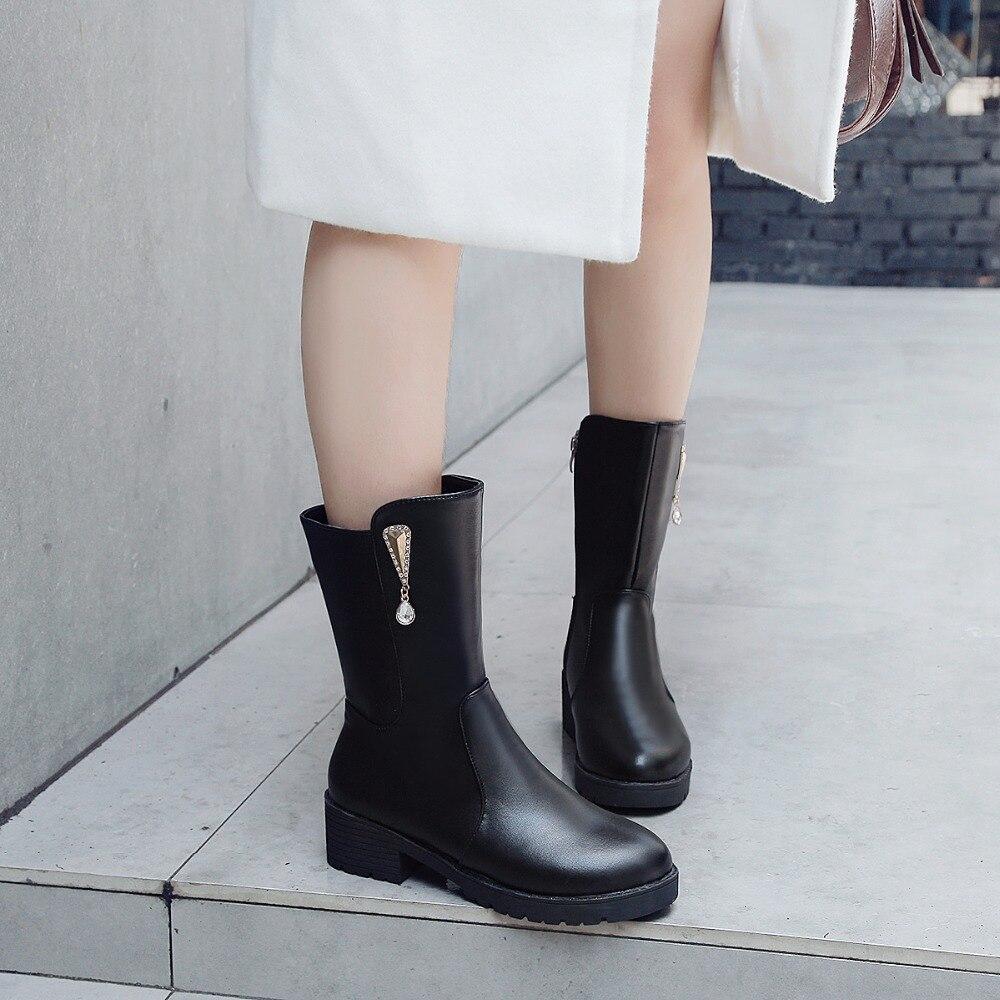 Tacón Alto Nuevas With Fur Crystal 2 Cuadrados black 2018 Casual Zapatos Mujer Con Grande Calzado Otoño Black Estilo Botas De Las Mujeres Cristal Piel Ternero Elegante Mediados paqZAngqx