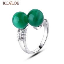 Green Ring Jade Stone Trendy Punk Double Round Ball Girl Ring Elegant Engagement Resizable Natural Crystal Green Jade Ring