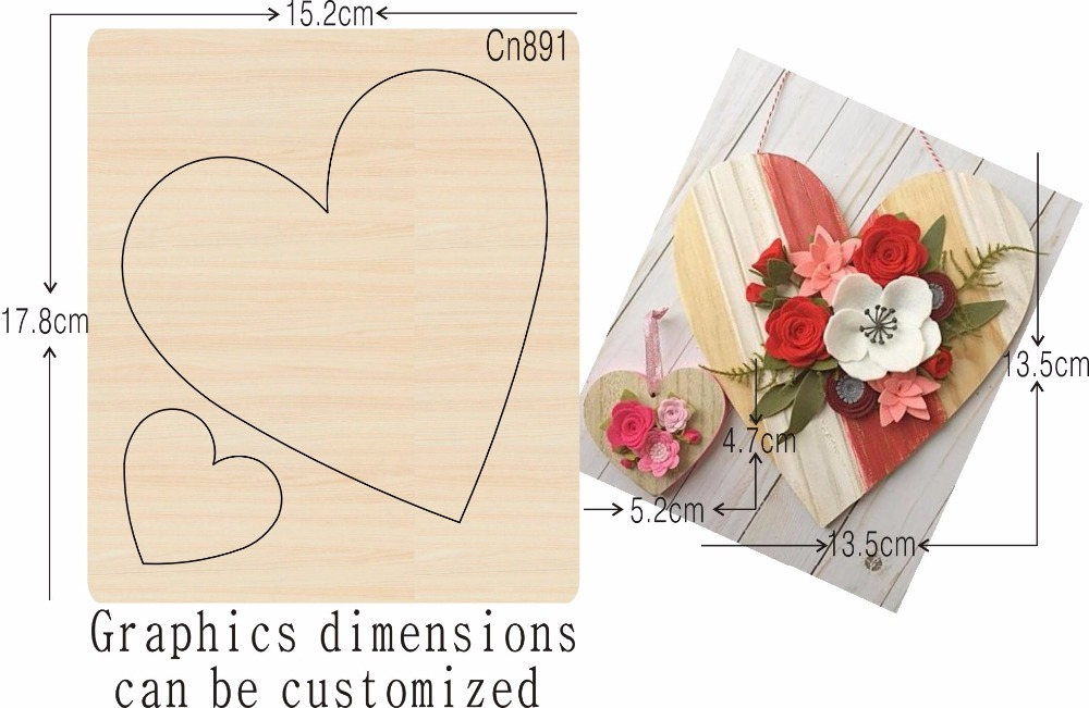 Heart shaped handicrafts Wood Mould is compatible with most leading machines Mold thickness 15 8mm