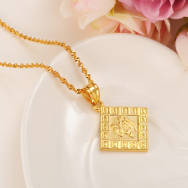 High quality charm allah pendant necklace islamic arabic gold color