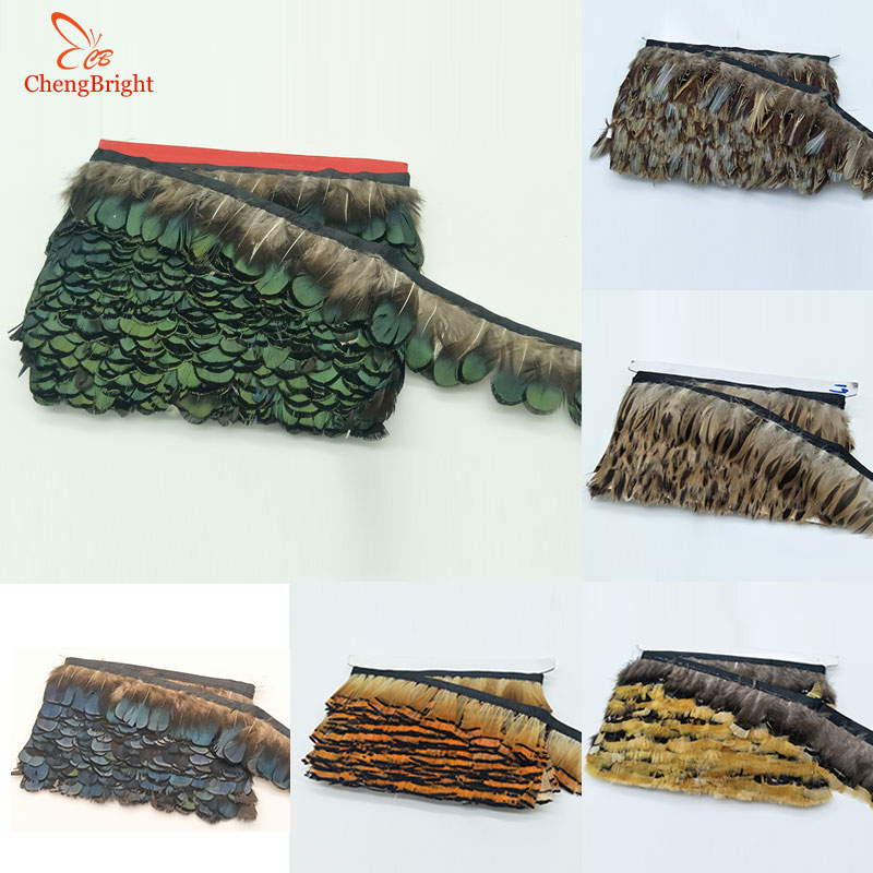 CHENGVRIGHT Natural Pheasant Feathers Trims Fringe Ribbon Trim With Satin Ribbon Sewing Crafts Costumes Decorative Plumes