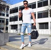 BORRUICE 2018 Fashion Men Jeans Streetwear Mens Skinny Jeans Light Colored Hole Hop Joggers Pants Jeans