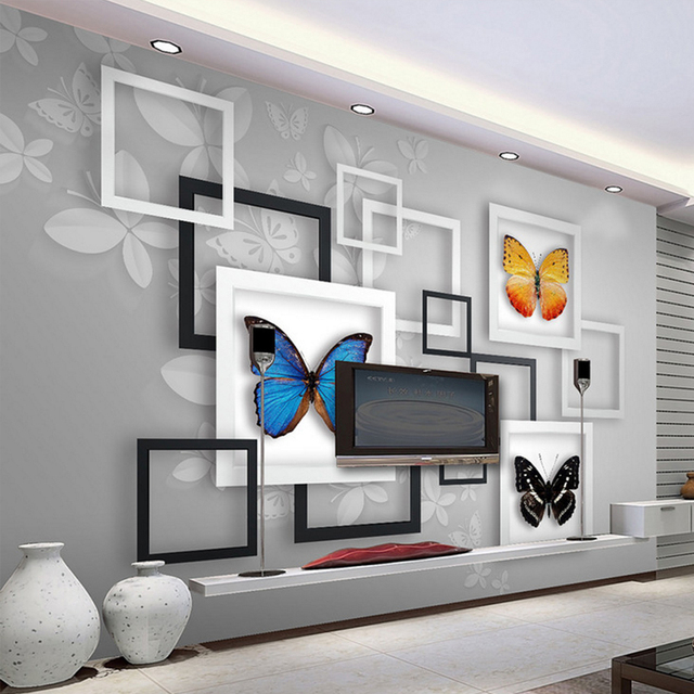 Premium Wallpaper 3D Stereo Geometry Abstract Art Dream Butterfly Living  Room Bedroom TV Background Home Decor