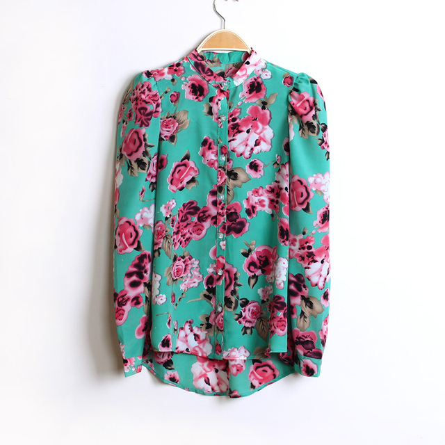 2013 spring puff sleeve chiffon shirt