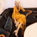 High quality 2016 new runway designer maxi dress fashionable elegant order bead bowknot organ plait long dress
