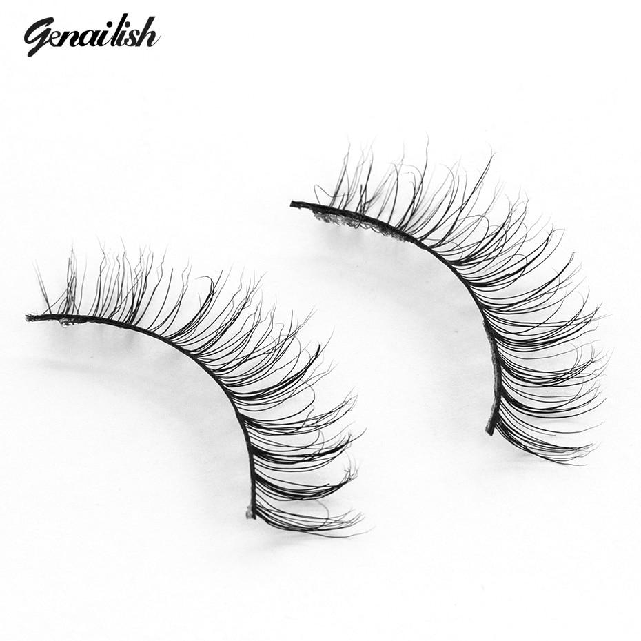 Genailish 3D Visón Pestañas Extensión Natural Cruzada Gruesa - Maquillaje