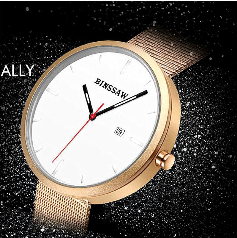 BINSSAW 2017 marca de lujo superior Amantes del oro correa de malla - Relojes para hombres - foto 6