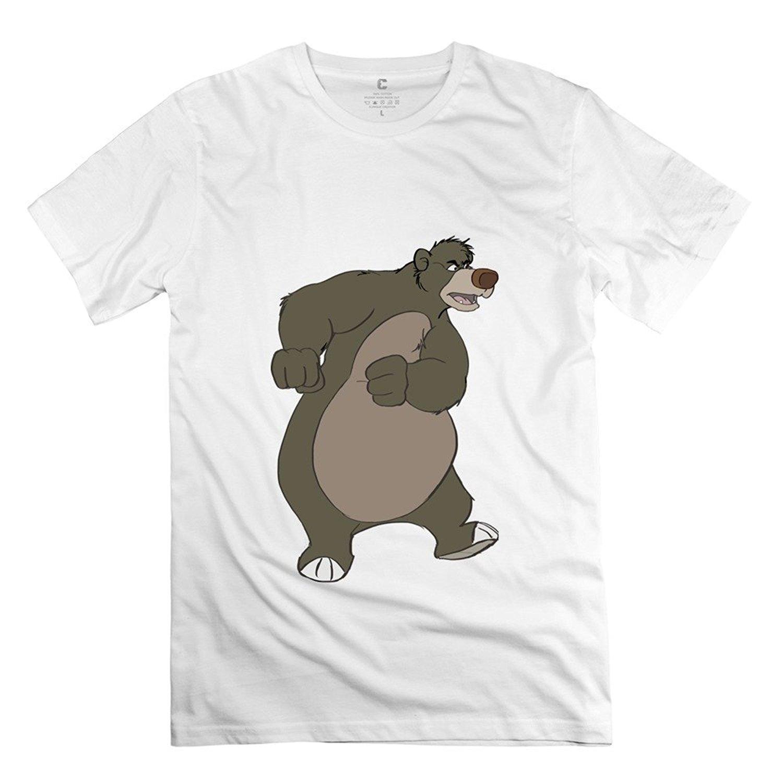 LEQEMAO Mens Unique Tshirts - The Jungle Book Bear Baloo DeepHeather