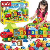 QWZ 50pcs Large Particles Numbers Train Building Blocks Bricks Educational Baby City Toys Compatible With LegoINGly