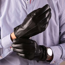Winter Gloves New Mens Genuine Leather Luxury Italy Sheepskin Super Handsome Motorcycle Warm