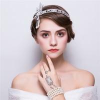 วินเทจThe G Reat G Atsbyชุดเครื่องประดับRhinestoneคาดศีรษะT Iaraนิ้วกำไลสร้อยข้อมือBijouxชุดเจ้าสาวแต่งงานเครื่อ...