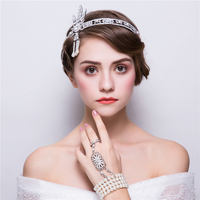 Vintage The Great Gatsby Jewelry Sets Rhinestone Headband Tiara Finger Bangles Bracelet Bijoux Set Bridal Wedding Ornament Gifts