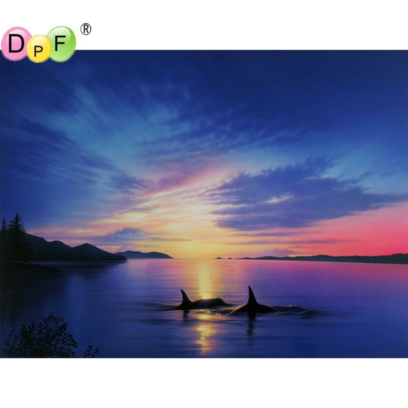 DPF 5D DIY Diamond mosaic 3D diamond embroidery Finless porpoise sunset scenery embroidered Cross Stitch Home decoration Gift