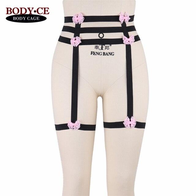 68ee864c1 Womens Sexy Garter Belt Pink Black Elastic High Waist Adjust Bondage Body  Cage Harness Lingerie Harajuku Stocking Suspender Goth