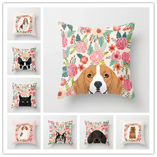 Puppy and Flowers Pattern Cushion Cover Colorful Cute Corgi Labrador Schnauzer Simple Style Flax Home Decorative Pillows Cover
