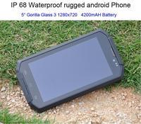 Original i8 teléfono Android Robusto teléfono celular A Prueba de agua IP68 A Prueba de Golpes Smartphone Quad Core 5.0 HD Gorilla Glass 3 GPS 4000 mAH