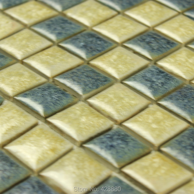 Porcelain Tile Glazed Mosaic Wall Stickers Kitchen Backsplash Tiles - 1 inch square ceramic tiles