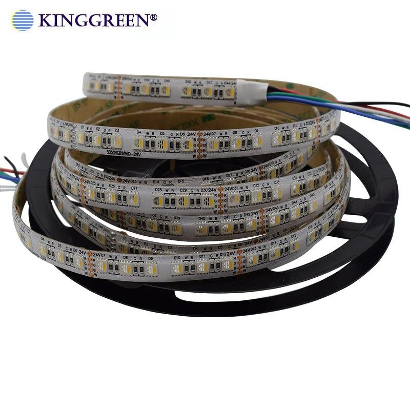 High CRI>90 Adjustable 5050 RGBWW / CW 4 In 1 LED Dimmable Strip Light DC24V 60~120LED/m Flexible Led Strip Lamp Free Shipping