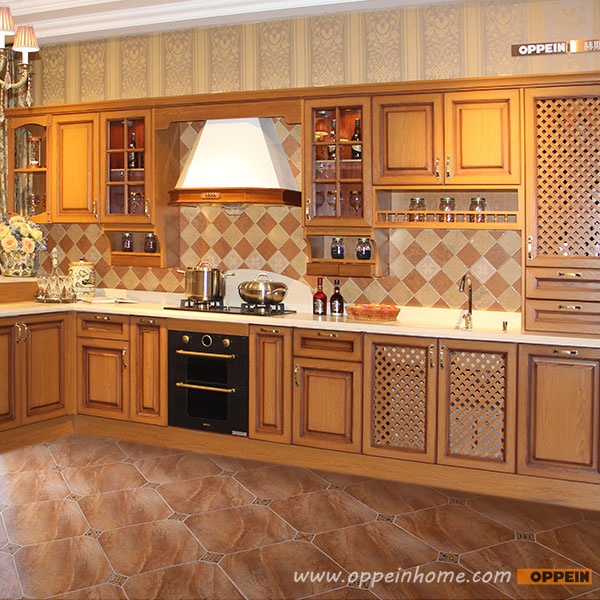 2016 Free Design Customize Solid Wood Kitchen Cabinets With Solid Wood Door Panel Integral Ambry OP15-006