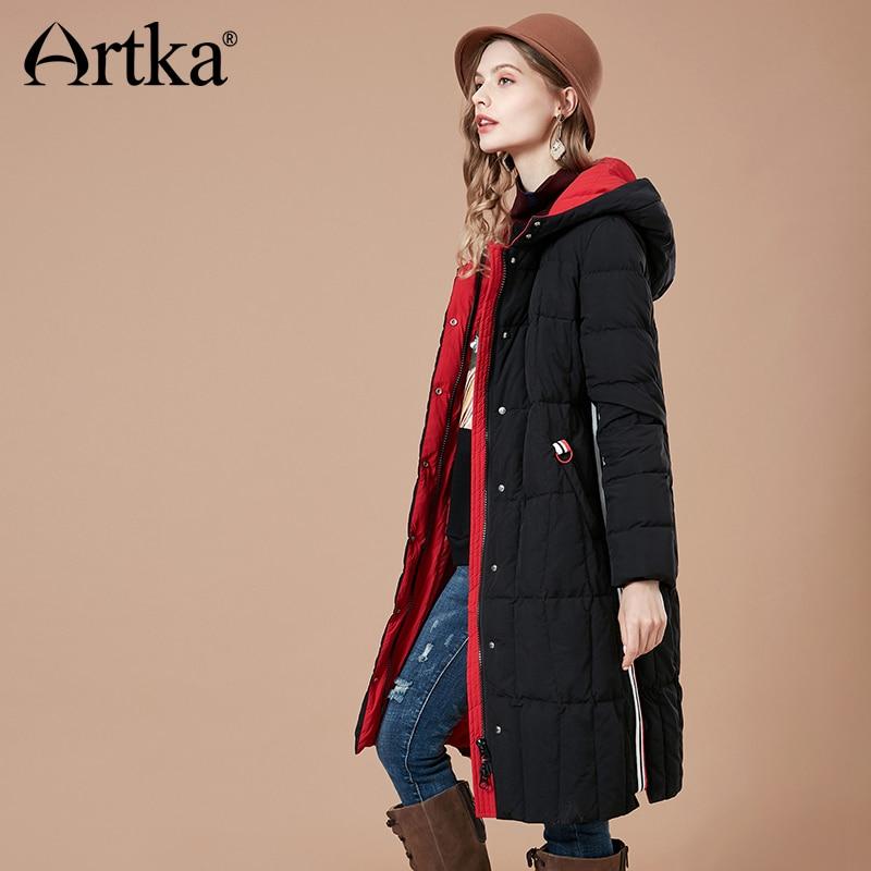 ARTKA Women 2018 Winter 90% White Duck Down Coat Contrast Color Hoodies Female Fashion Thicken Jacket Coats YK10089D