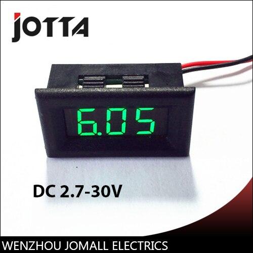 Digital DC Voltage Meter 2.7-30V green LED Digital Panel Vehicle Mini Voltmeter