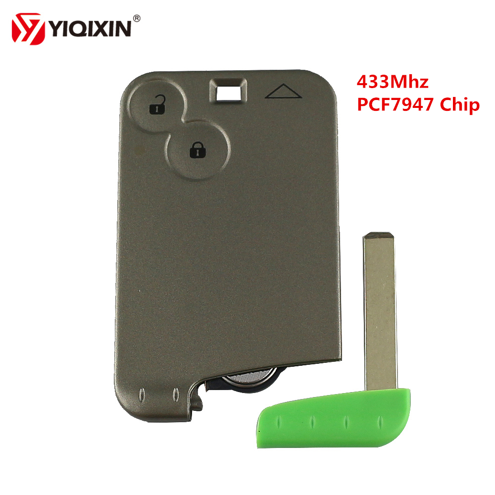 YIQIXIN 2 Button Remote Smart Car Key Card 433Mhz ID46 PCF7947 Chip For Renault Laguna Espace 2001-2006 With Blade