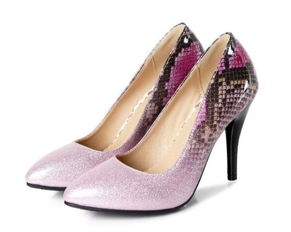 Chaussures Dames purple Mariage Femme De Mince silvery 2018 C170468 Bout Sexy Talons Hauts Green Pompes Chaussure Serpent Mujer Femmes Zapatos Pointu Mode RT7Wft