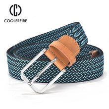 2017 Hot Colors Men Women's Casual Knitted Belt Woven Canvas Elastic Stretch Belt Plain Webbing Belt Metal Buckle Black MQ003(China)