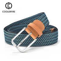 2017 Hot Colors Men Women's Casual Knitted Belt Woven Canvas Elastic Stretch Belt Plain Webbing Belt Metal Buckle Black MQ003