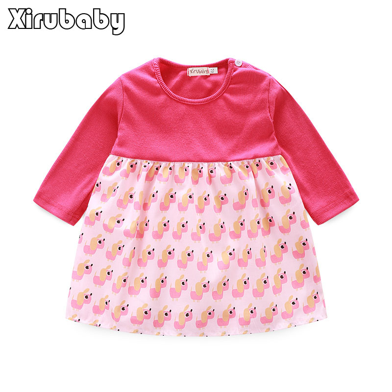 Kimocat Cotton Bow New Born Baby Dress with Baby Rompers Soft Baby Girls Infant Clothes Jumpsuit