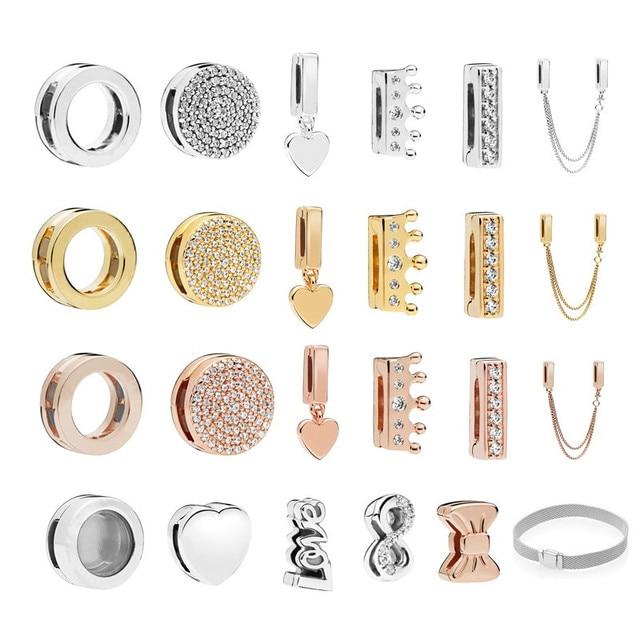 8e9aa9740 Original 925 Sterling Silver Reflexion Clip Charm Fits Pandora Charm  Bracelet Heart Locket Floating Bead DIY Making Jewelry