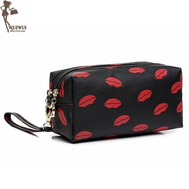 Cosmetic Bag Cases New Fashion Lip Print Women Make Up Double Zipper Design Quality Pvc