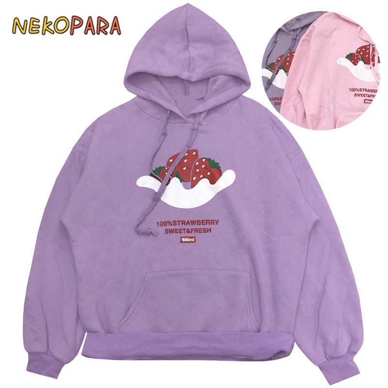 3e59737e4d62 Strawberry Cute Women s Japanese Harajuku Hooded Sweatshirt Warm Winter  Hoodies Loose Style Pink   Violet