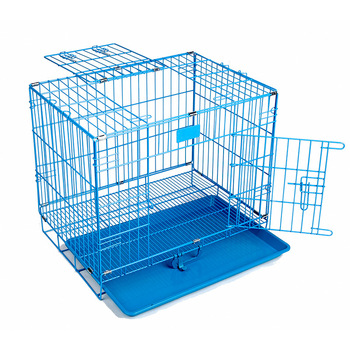 Cheap Folding Metal Dog Crate Foldable Pet Cat Cage   Kennel Double-Door Easy Install  Pink Blue S size for Small pet 45*30*38CM 1