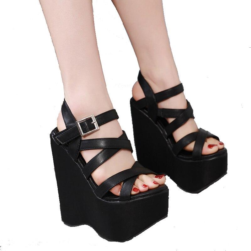 Hot Women Leather Less Wedge Heel Platform Roma Strap Gladiator Sandal Club Shoe